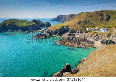 Clear blue turquoise sea at beautiful Kynance Cove The Lizard Cornwall England UK illustration like oil painting