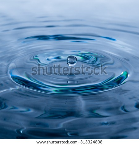 clear blue water droplet over rippled water