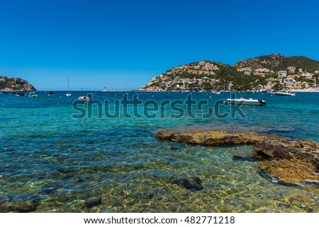 Clear Blue Water of Port d'Andratx, Majorca, Balearic Islands, Spain