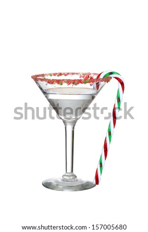 clear candy cane martini - stock photo