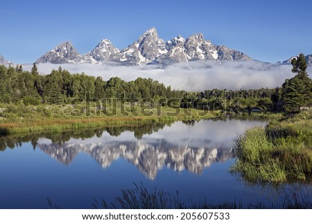 Clear Day at Schwabacher�s Landing on the Sank River in Grand Teton National Park, Wyoming.