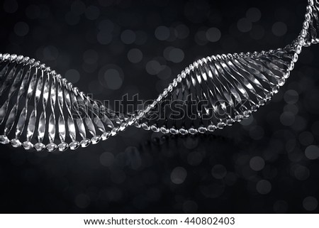 Clear DNA structure with light bokeh background, 3d illustration.