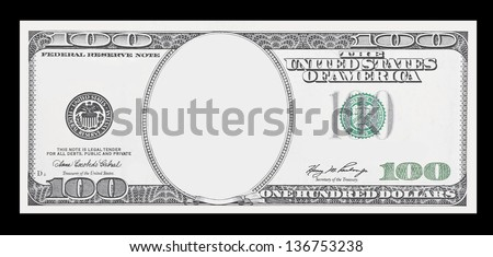 Clear 100 dollar banknote