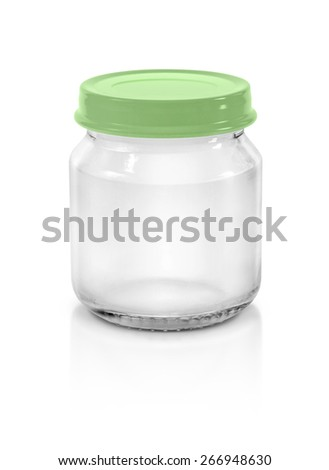 Clear glass bottle packaging with green pastel cap isolated on white background