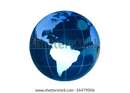 Clear glass globe lit to feature South America.  Globe against white background. - stock photo