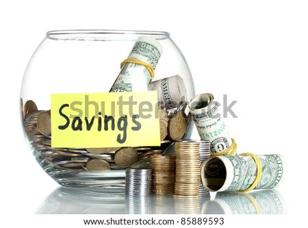 Clear glass jar for tips with money isolated on white (Ukrainian coins) - stock photo