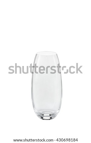 Clear glass vase isolated on a white background