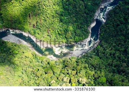 Clear Green Water Of Pastaza River In Ecuadorian Andes Aerial Shot - stock photo