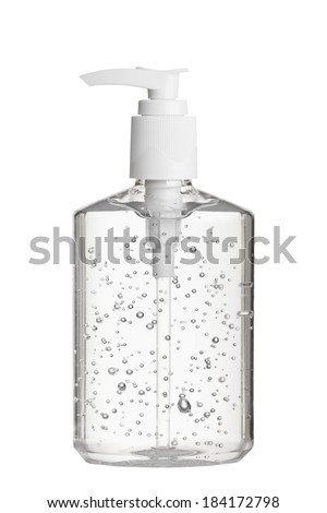 Clear hand sanitizer in a clear pump bottle isolated on a white background. Hand sanitizer is used for killing germs, bacteria and viruses, some of which can cause H1N1 flu or swine flu.  - stock photo