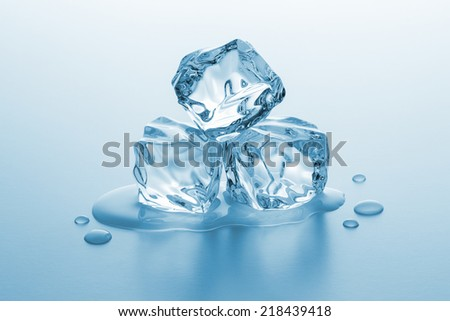 clear ice cubes rocks melting - stock photo