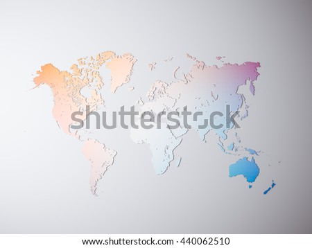 Clear Multicolor Texture Political World Map. 3D rendering. Empty Concrete wall background. High textured row materials. Mockup ready for business information. Horizontal - stock photo