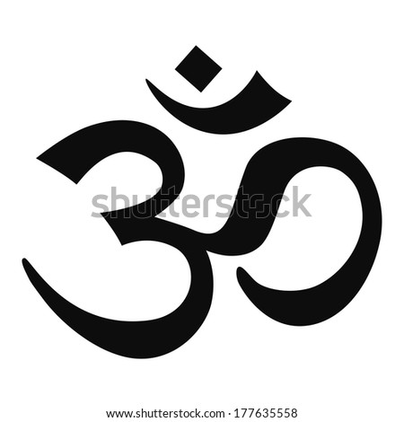 Clear OM Sign - Black on White - stock photo