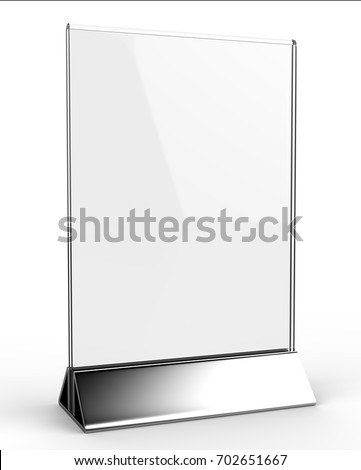 Clear Plastic Acrylic Table Talkers Promotional Stock Illustration - Acrylic table tent holders