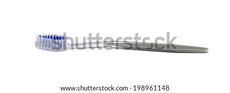 Clear Plastic Toothbrush isolated on white - stock photo