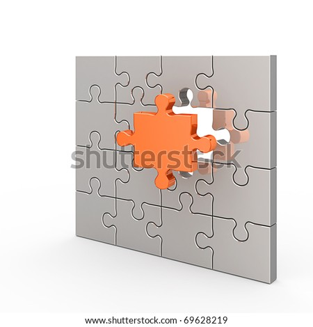 Clear puzzle. White isolated 3d render - stock photo