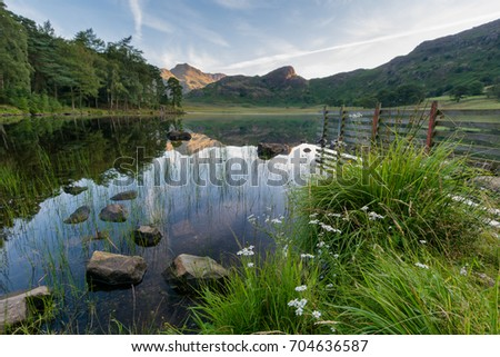 Clear reflections in water at Blea Tarn in the Lake District.