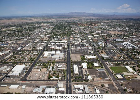 Clear skies over Downtown Mesa looking North towards Reservation Land - stock photo