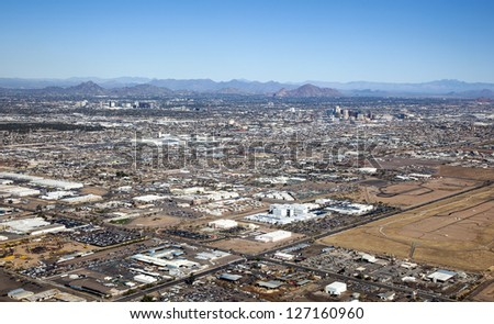 Clear Skies over Phoenix, Arizona and the Valley of the Sun - stock photo