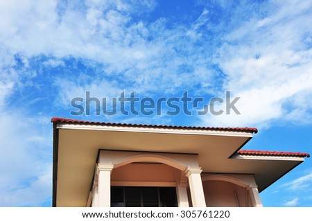 Clear sky and the top of house