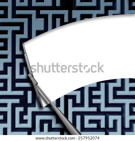 Clear solution concept with a windshield window wiper blade wiping off a complicated maze or labyrinth pattern as a business symbol of innovative thinking for financial success. - stock photo