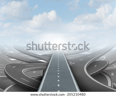 Clear strategy concept as a straight road going over confused paths for achieving success in the future as a symbol of business vision and planning to  solve the maze. - stock photo
