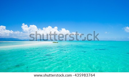 Clear tropical water and coral cay beach, Yaeyama Islands, Okinawa, Japan - stock photo