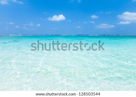 Clear tropical water beach of a coral lagoon, Okinawa - stock photo