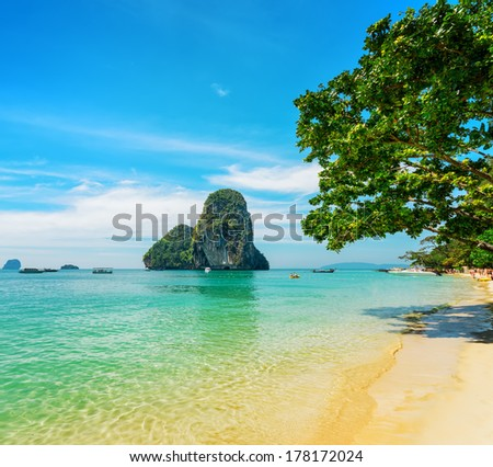 Clear water and blue sky. Phra Nang beach, Thailand. - stock photo