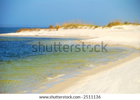 Clear Water at Curvy Shore - stock photo