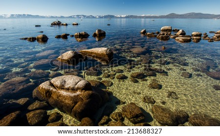 Clear water at Tahoe Lake