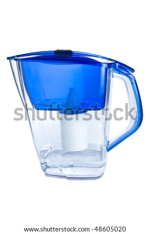 Clear water filter pitcher. Isolated on white background with clipping path.
