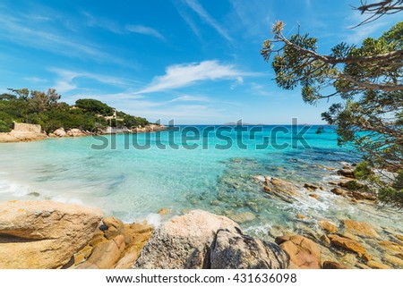 clear water in Capriccioli beach, Sardinia - stock photo