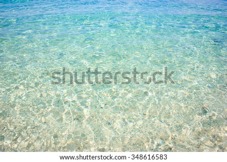 Clear water on the beach.