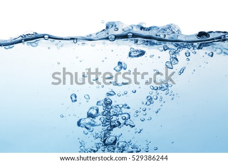 Clear water surface with ripple and bubble