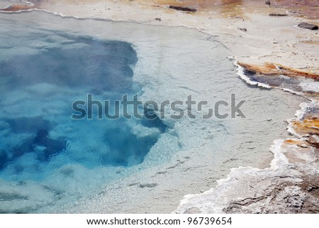 Clear water view of hot spring in yellowstone national park - stock photo