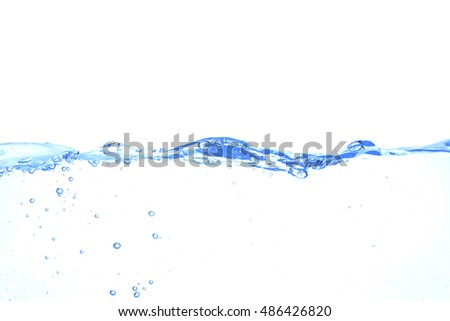 Clear water waves isolated on white background.