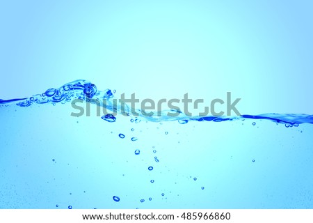 Clear water waves. Water splash with bubbles of air