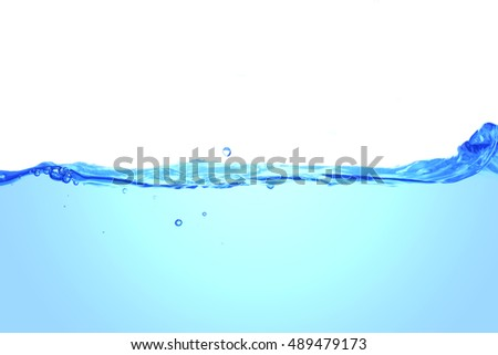 Clear water waves. Water splash with bubbles of air, isolated on the white background.