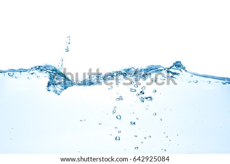 Clear water waves. Water wave isolated on white background