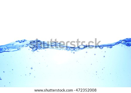 Clear water waves White background