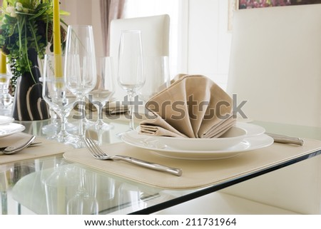 Clear white decoration table for meal - stock photo