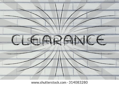 Clearance, illustration with text surrounded by two types of rays and flare