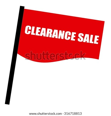 clearance sale white stamp text on red flag