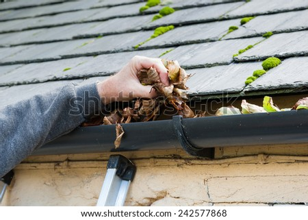 clearing blocked gutter of autumn leaves on ladder - stock photo
