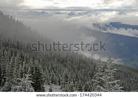Clearing Snow Storm in the Rocky Mountains, Colorado - stock photo