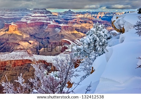 Clearing storm over south rim, Grand Canyon, Arizona - stock photo