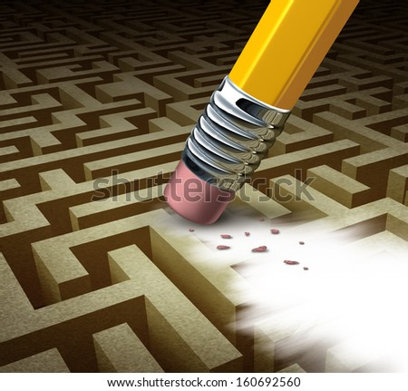 Clearing the path business solutions as a metaphor for removing a complicated maze by a pencil eraser as a concept of innovative thinking for financial success and learning new skills. - stock photo