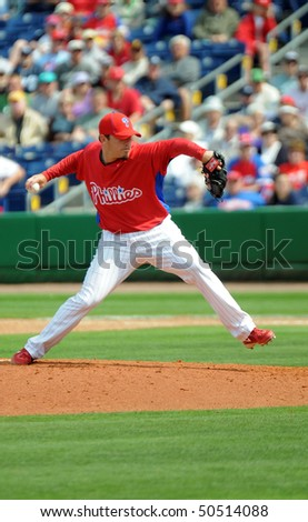 CLEARWATER, FL - MARCH 23: Philadelphia Phillies pitcher Chad Durbin throws a pitch in the March 23, 2010 spring training game in Clearwater, FL - stock photo