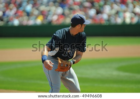 CLEARWATER, FL - MARCH 23: Tampa Bay Rays third baseman Evan Longoria prepares to throw the ball on defense in a March 23, 2010 spring training game in Clearwater, FL