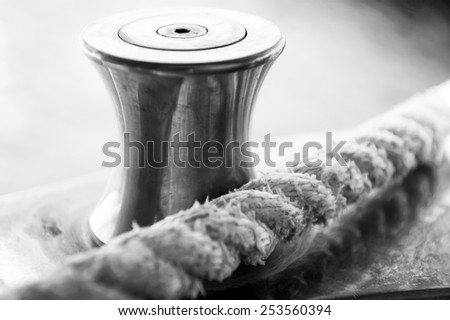 Cleat with rope - stock photo